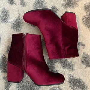 Maroon Velvet booties